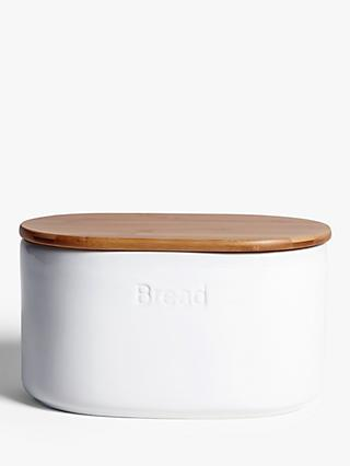 John Lewis & Partners Ceramic Bread Bin with Bamboo Lid, White