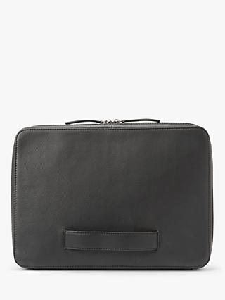 "John Lewis & Partners Oslo 13"" Leather Laptop Sleeve, Black"
