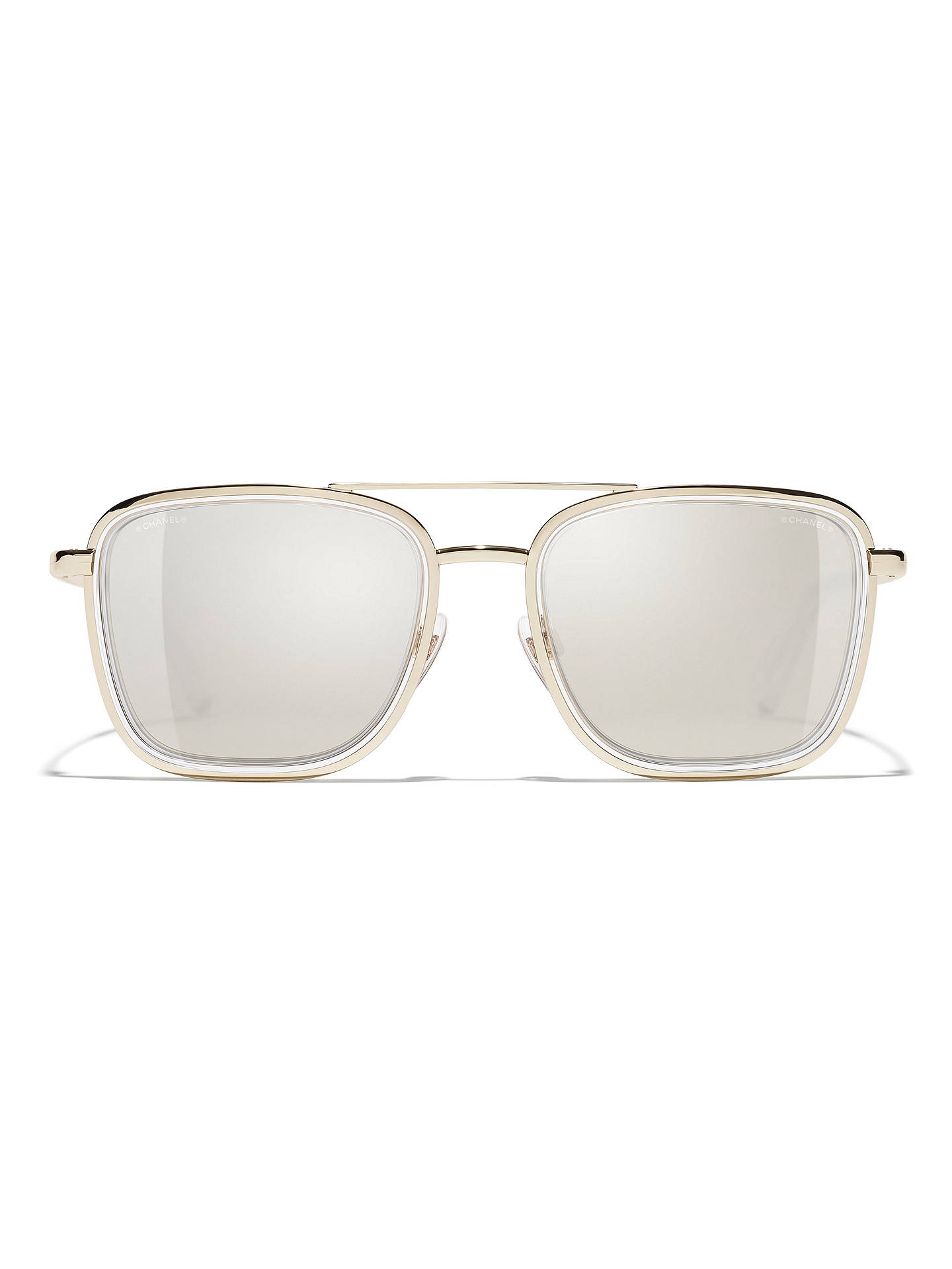 5e40fcc7a ... Buy CHANEL Square Sunglasses CH4241 Light Gold/Mirror Gold Online at  johnlewis.com ...
