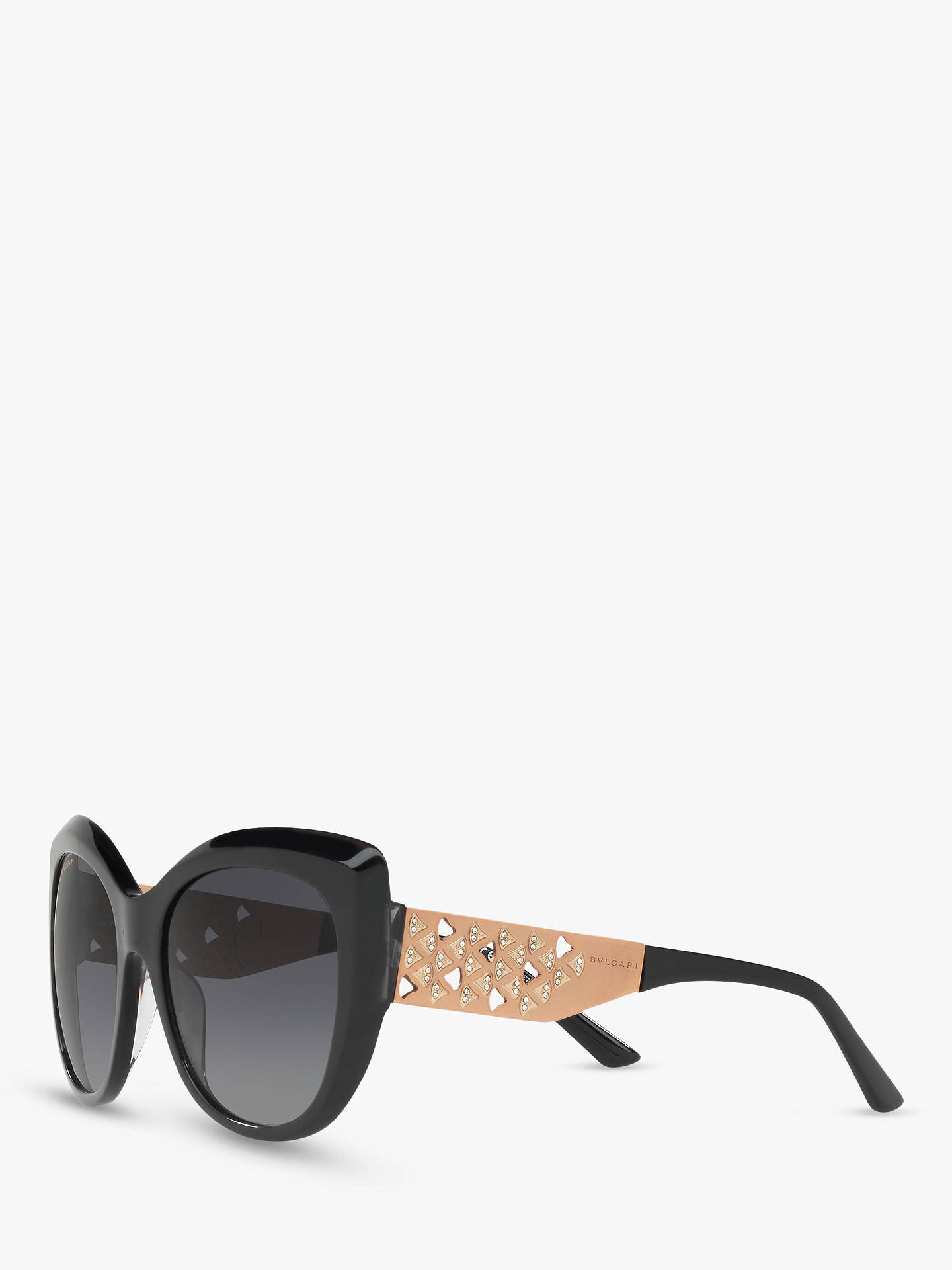 BuyBVLGARI BV8198B Women's Polarised Chunky Cat's Eye Sunglasses, Black/Grey Gradient Online at johnlewis.com