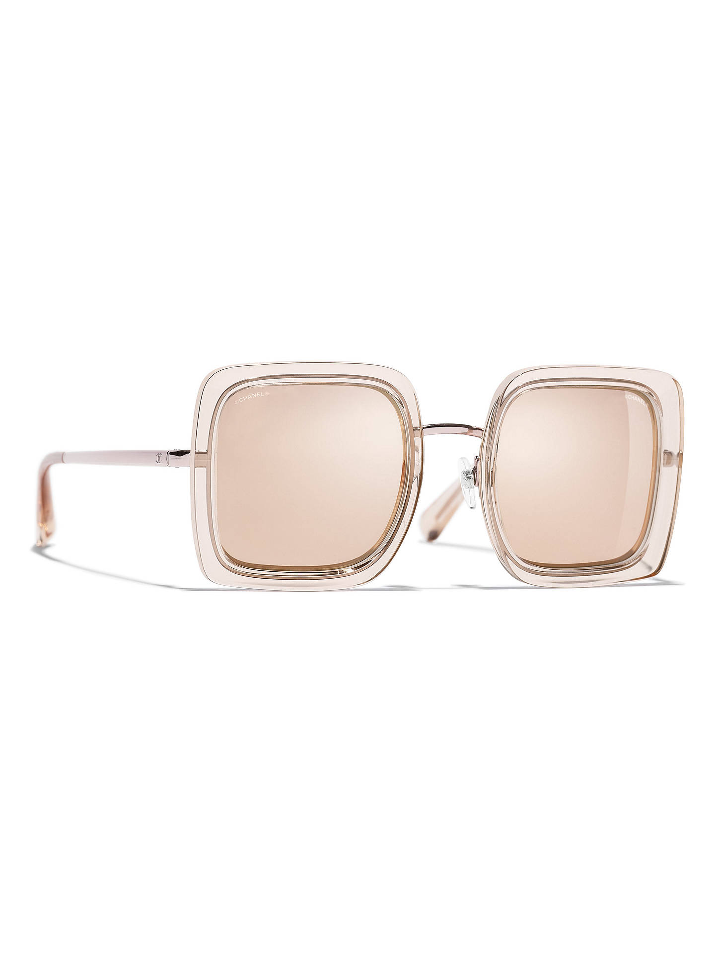 BuyCHANEL Square Sunglasses CH4240 Light Pink/Mirror Gold Online at johnlewis.com