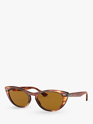 Ray-Ban RB4314N Women's Cat's Eye Sunglasses, Tortoise/Brown Gradient