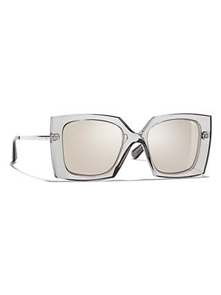 858f5f6a5c52c CHANEL Square Sunglasses CH6051 Grey Mirror Clear