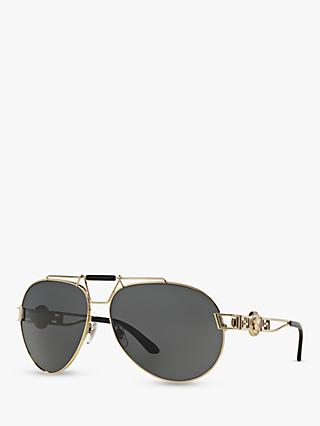 Versace VE2160 Women's Aviator Sunglasses, Gold/Grey