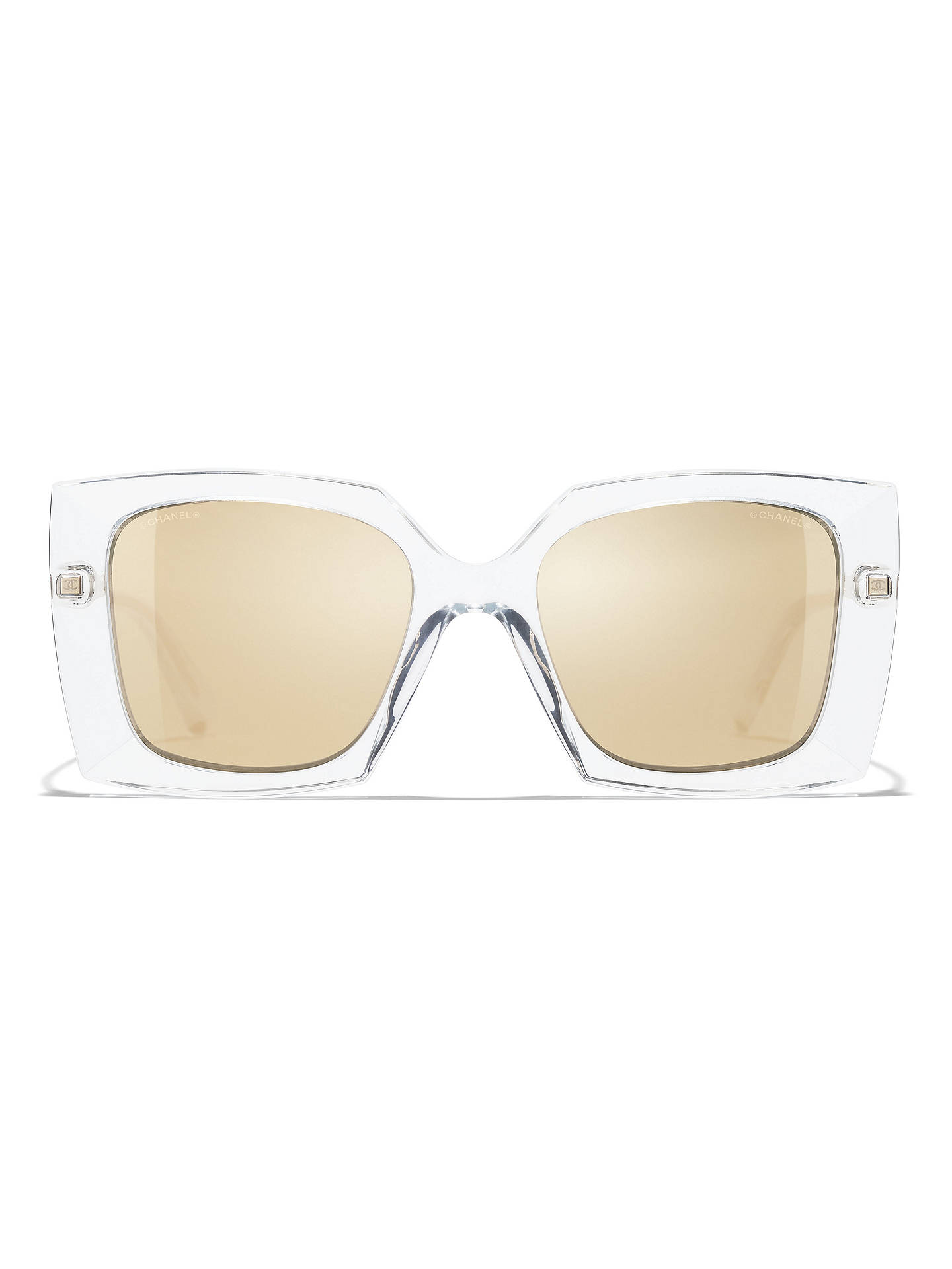 BuyCHANEL Square Sunglasses CH6051 Clear/Mirror Gold Online at johnlewis.com