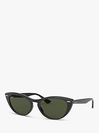 Ray-Ban RB4314N Women's Cat's Eye Sunglasses, Black/Green Gradient