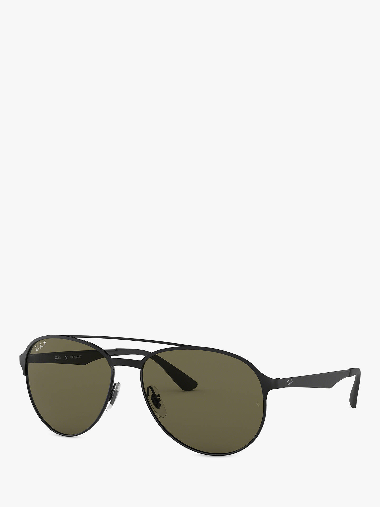 Ray Ban Rb3606 Men S Polarised Aviator Sunglasses Matte Black Green