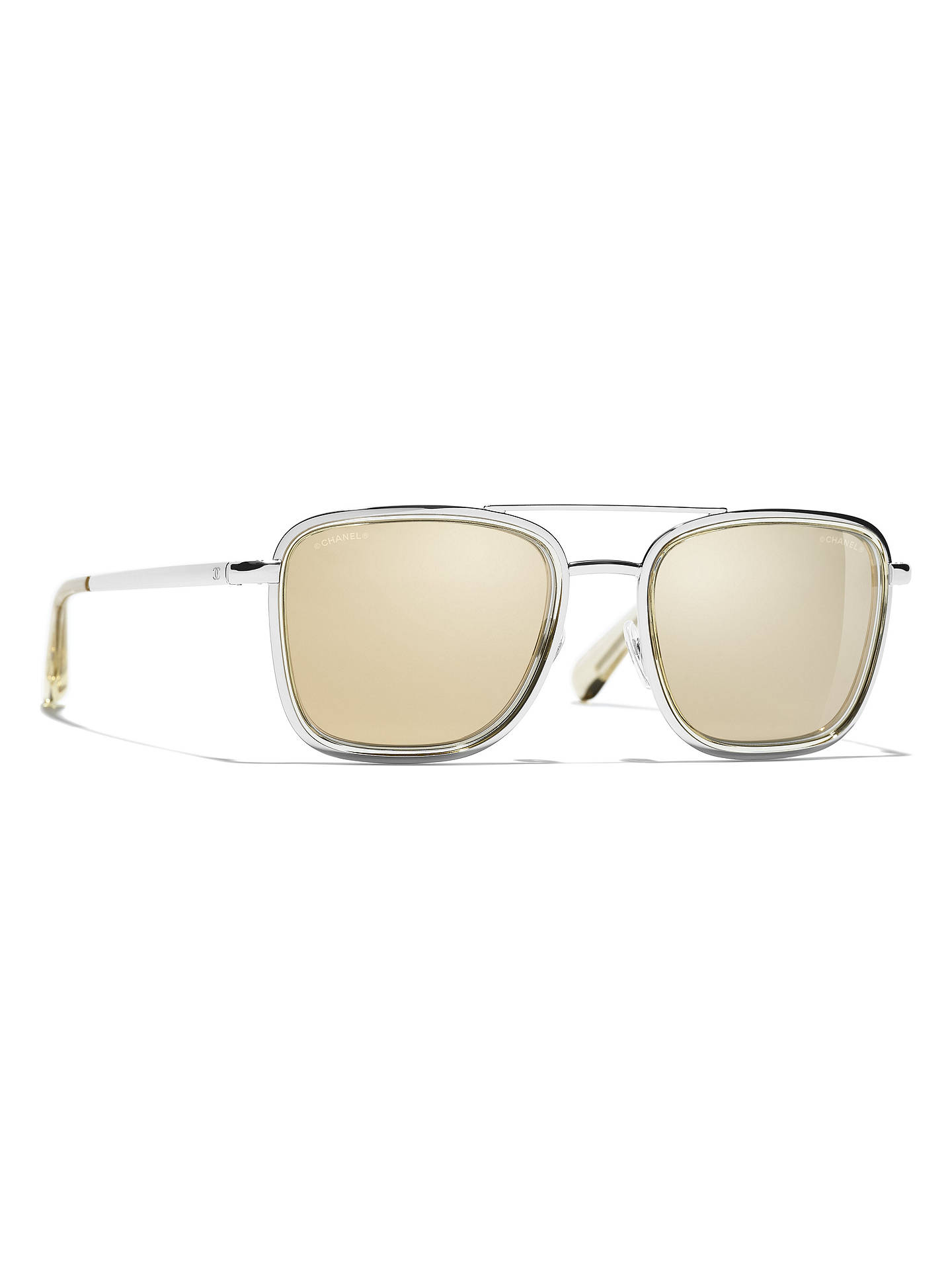 BuyCHANEL Square Sunglasses CH4241 Silver/Mirror Gold Online at johnlewis.com