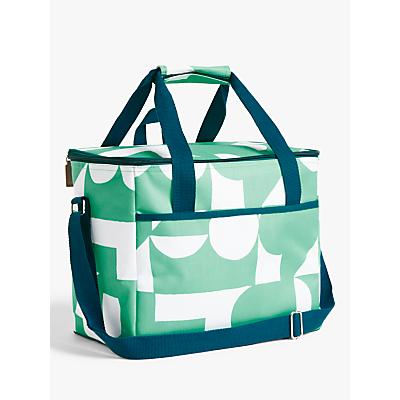 John Lewis & Partners Bohemian Summer Geo Print Picnic Cooler Bag, Green, 20L