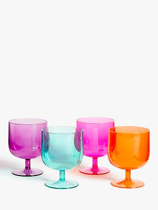 05b5c052d4 John Lewis & Partners Summer Party Stacking Plastic Wine Glasses, Set of 4,  300ml