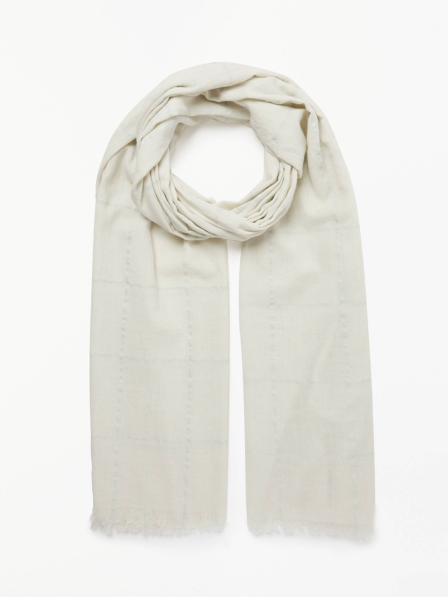 7b223c608445b Buy Unmade Rosa Metallic Check Cotton Scarf, Paste Blue Online at  johnlewis.com ...