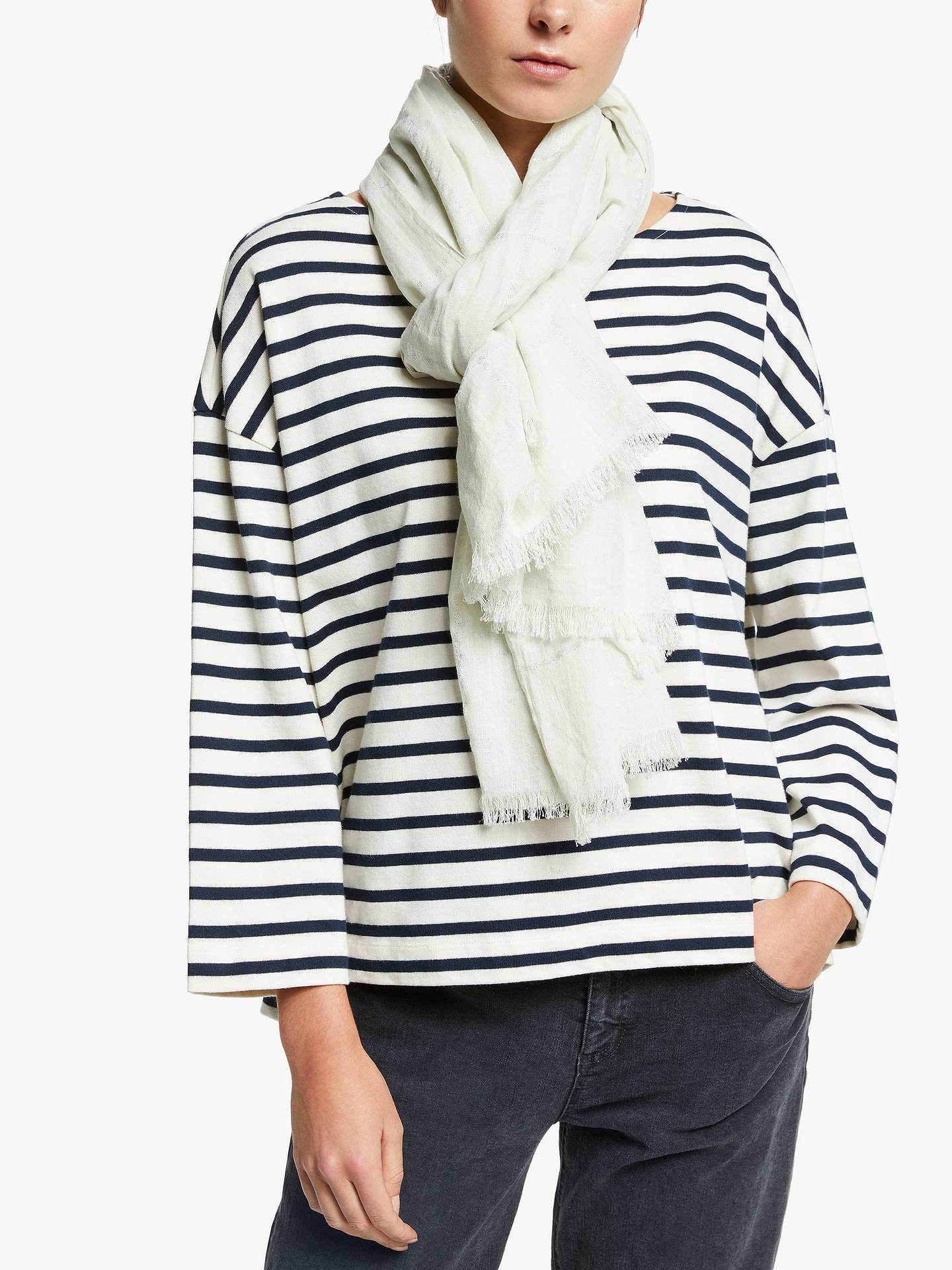 ad7b2a97d9166 ... Buy Unmade Rosa Metallic Check Cotton Scarf, Paste Blue Online at  johnlewis.com ...