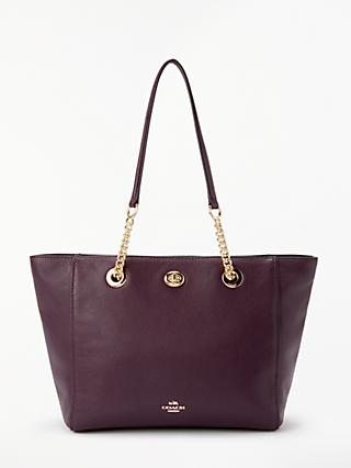 Coach Turnlock 27 Chain Leather Tote Bag