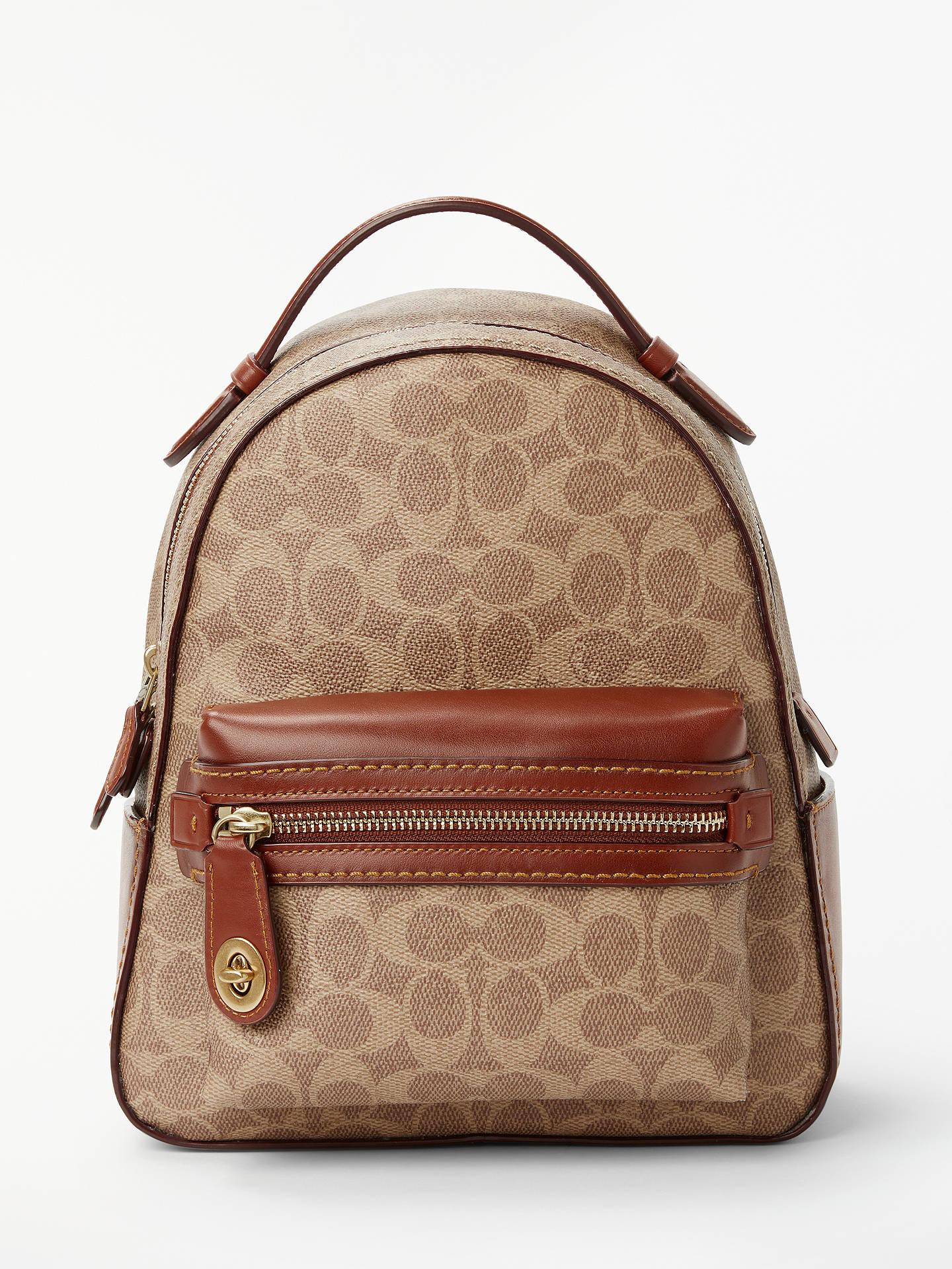 ea44974fd Buy Coach Signature Campus Backpack, Tan Rust Online at johnlewis.com ...