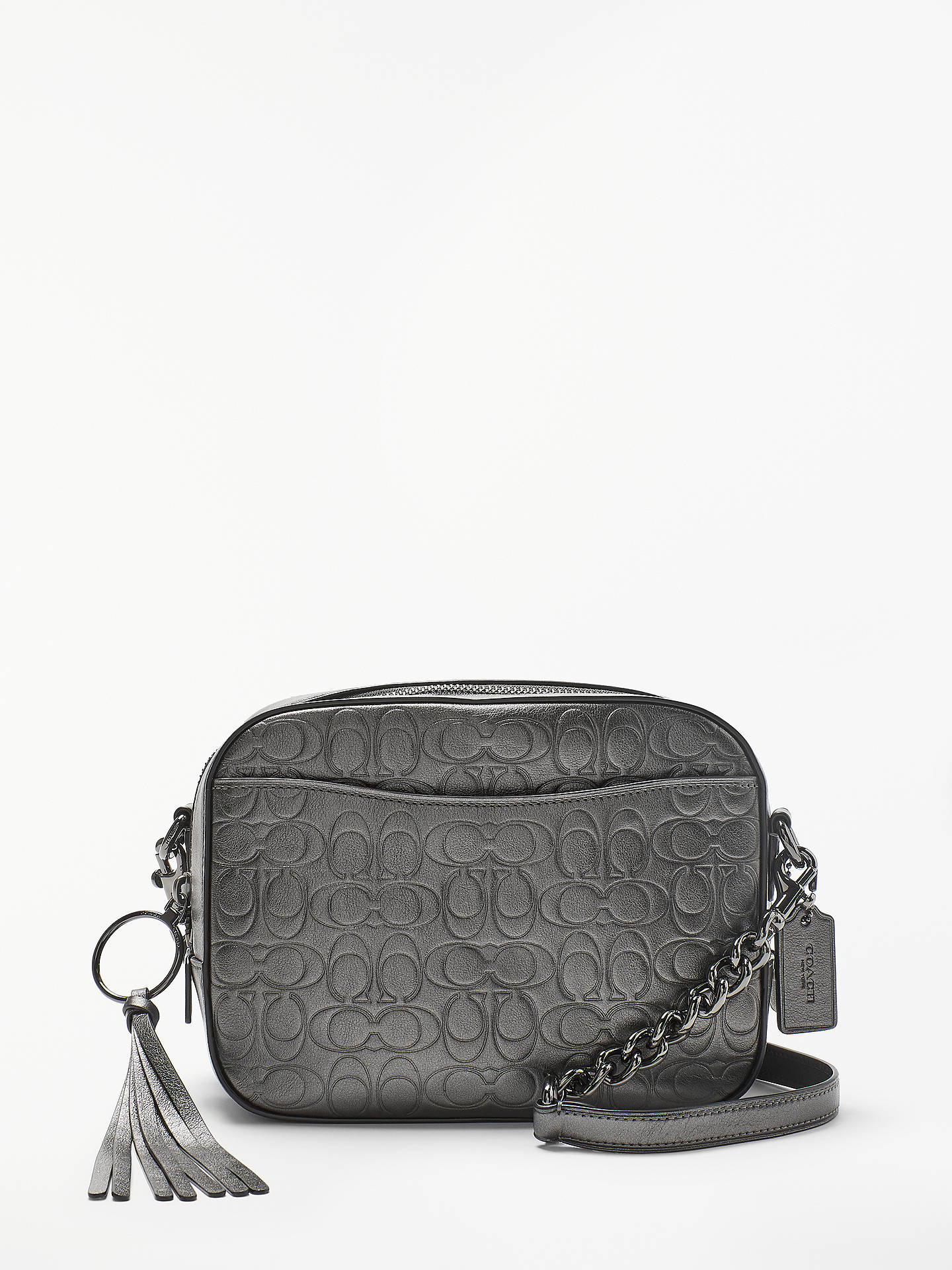 913fe41caab BuyCoach Metallic Signature Leather Camera Bag, Metallic Graphite Online at  johnlewis.com ...