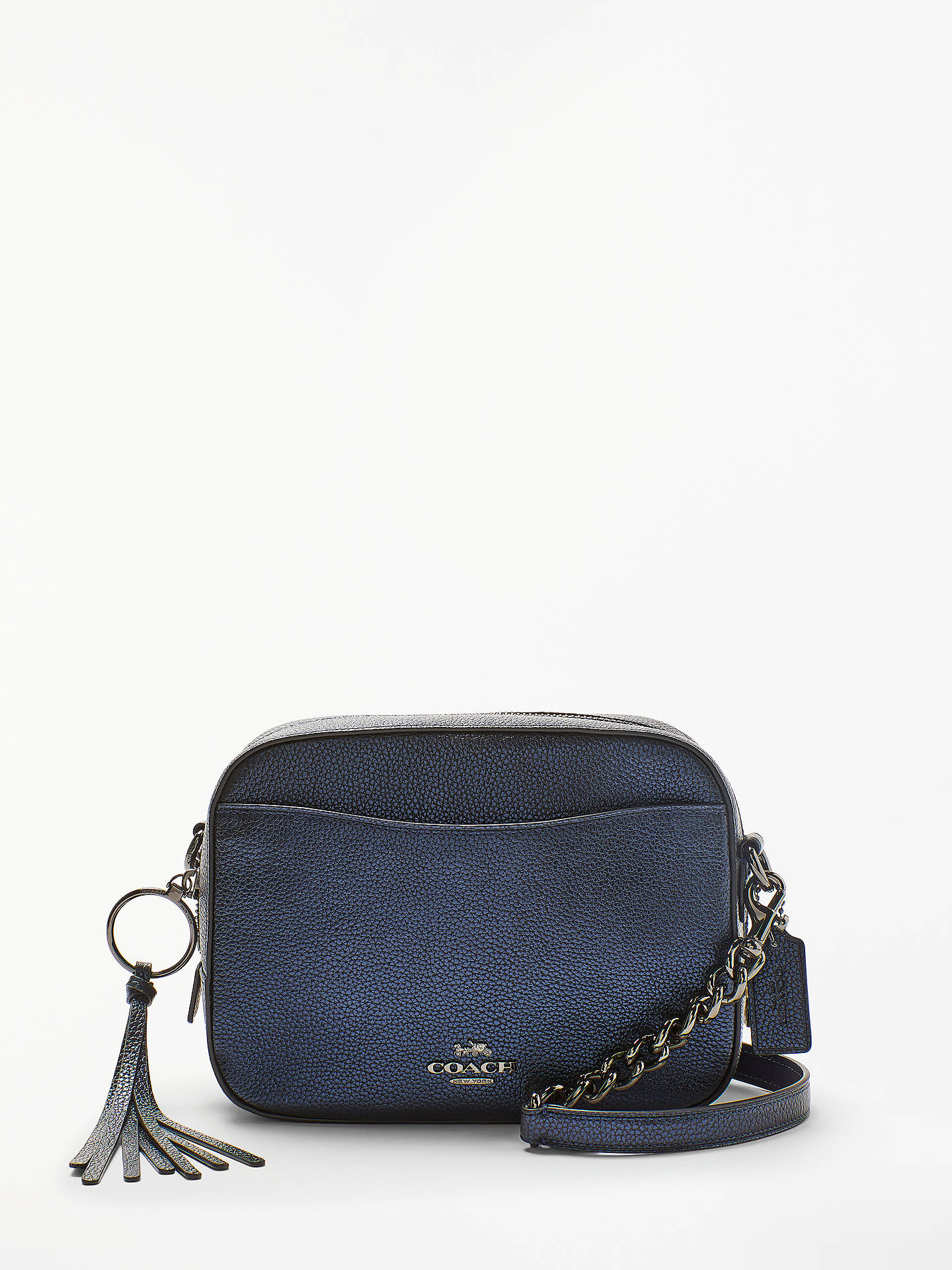3c75b8c09638a Buy Coach Leather Cross Body Camera Bag, Metallic Blue Online at  johnlewis.com ...