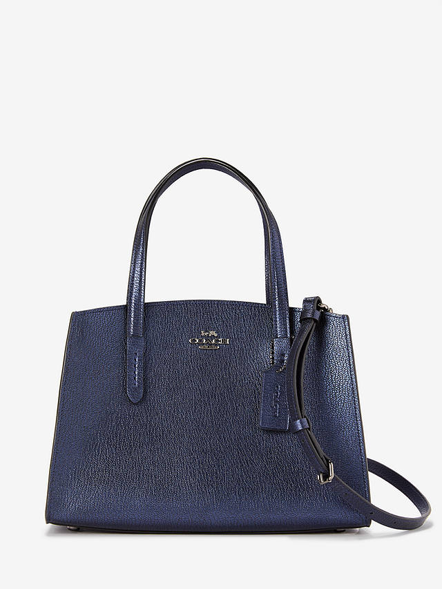 Buy Coach Charlie 28 Leather Carryall Tote Bag, Metallic Blue Online at johnlewis.com