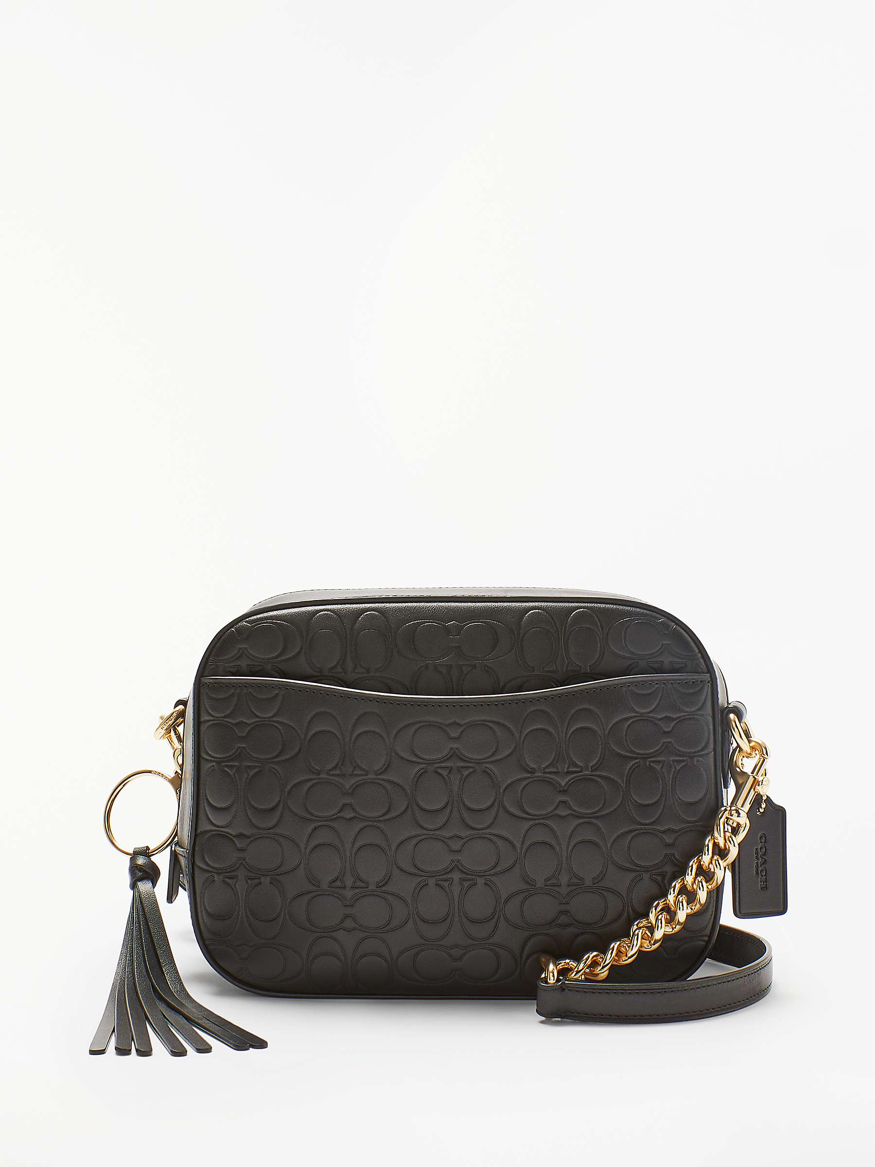 Coach Signature Embossed Leather Camera Bag, Black by John Lewis