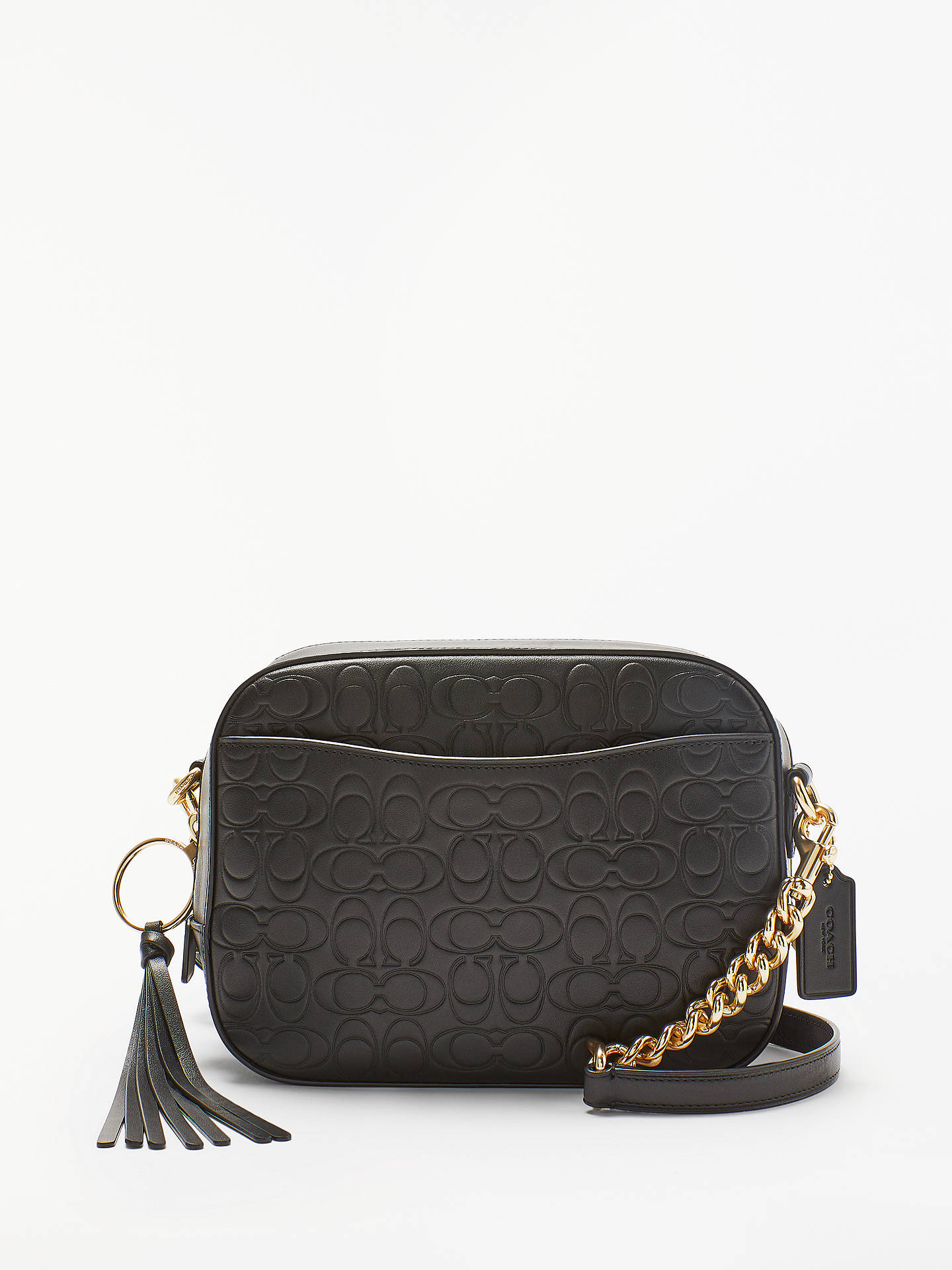 6fa0947a907 Buy Coach Signature Embossed Leather Camera Bag, Black Online at  johnlewis.com ...