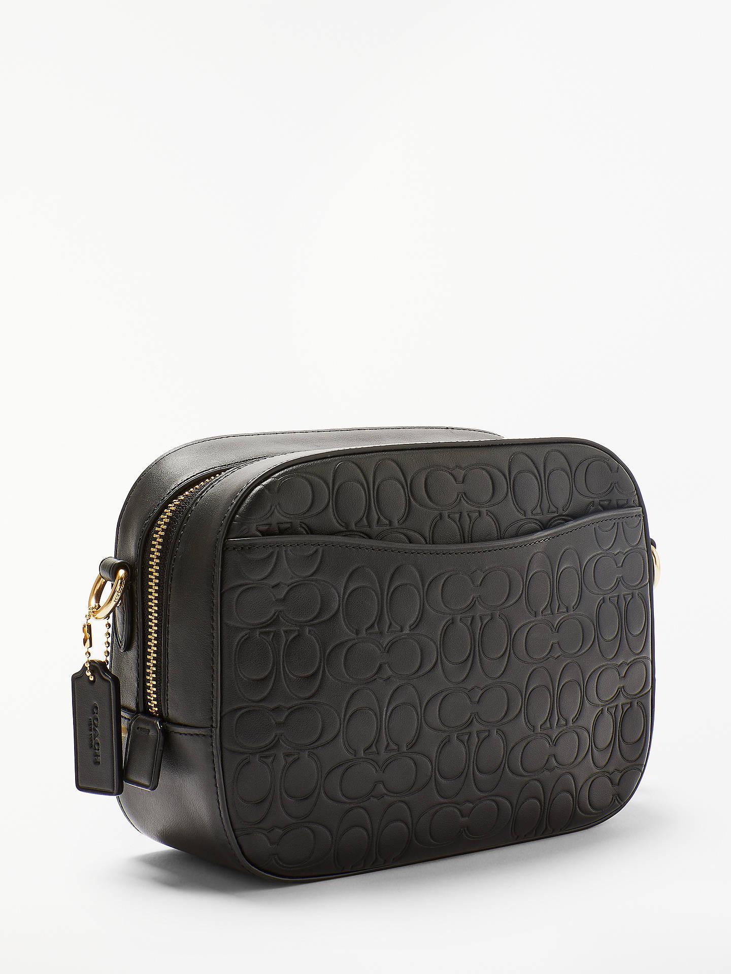 13020fce669c Coach Signature Embossed Leather Camera Bag, Black