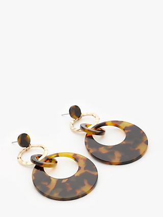 John Lewis Partners Circle Resin Drop Earrings Tortoise Gold