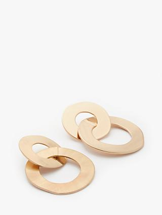 John Lewis & Partners Large Double Circle Drop Earrings, Gold