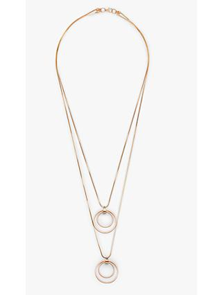 John Lewis & Partners Layered Chain Circle Pendant Necklace, Gold