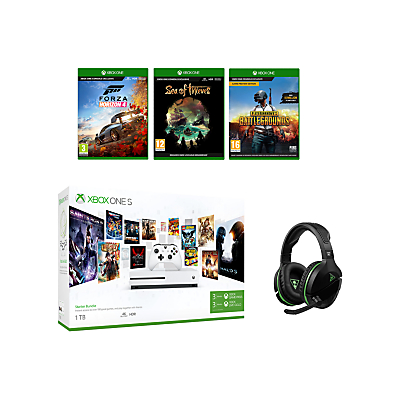 Image of Microsoft Xbox One S Console, 1TB, with Wireless Controller and PlayerUnknown's Battlegrounds, Forza Horizon 4, Sea of Thieves and RIG 800LX Wireless Gaming Headset Bundle