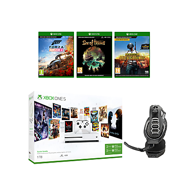 Image of Microsoft Xbox One S Console, 1TB, with Wireless Controller and PlayerUnknown's Battlegrounds, Forza Horizon 4, Sea of Thieves and RIG 400HX Wireless Gaming Headset Bundle