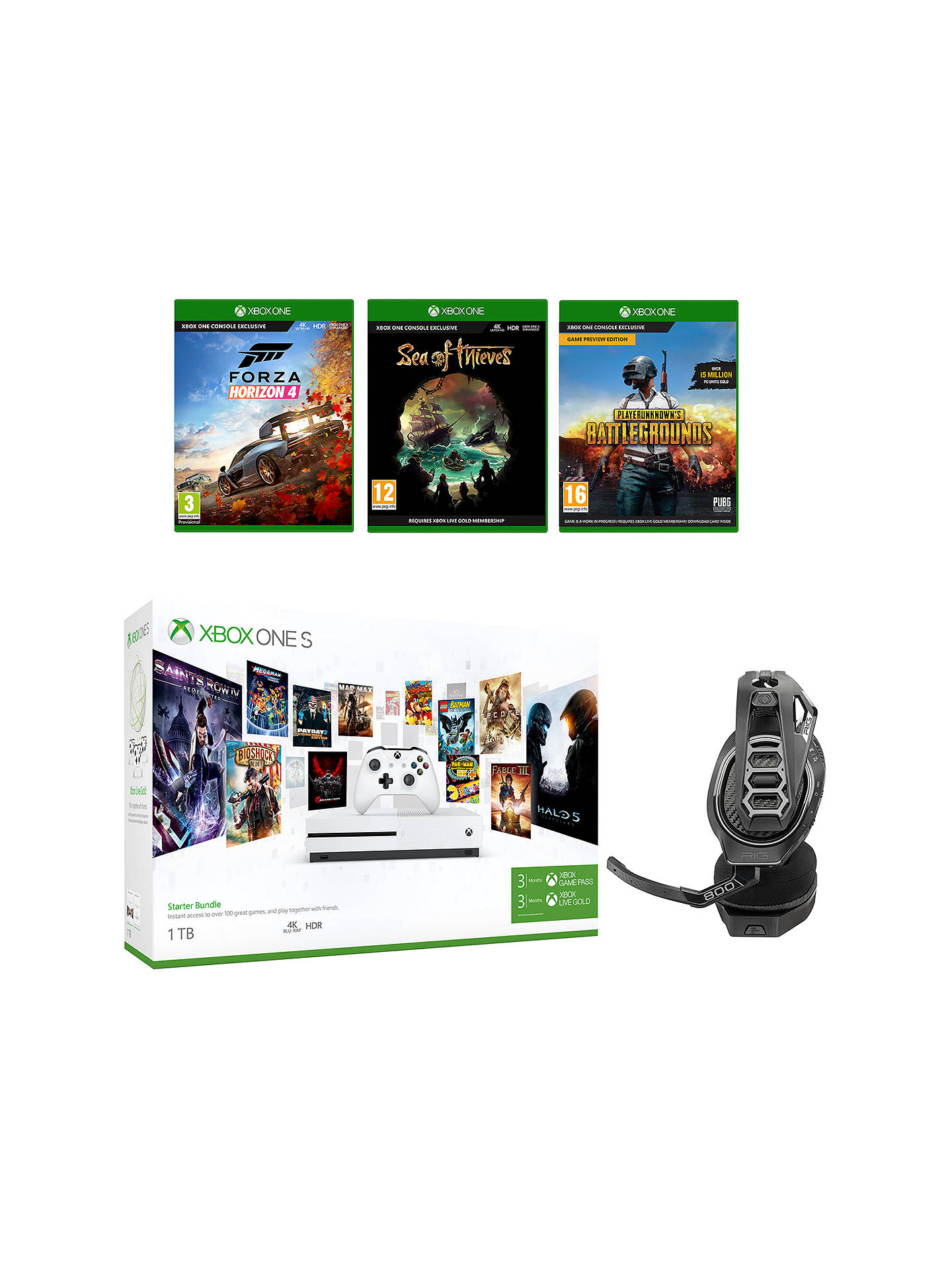 Microsoft Xbox One S Console, 1TB, with Wireless Controller and  PlayerUnknown's Battlegrounds, Forza Horizon 4, Sea of Thieves and RIG  400HX Wireless
