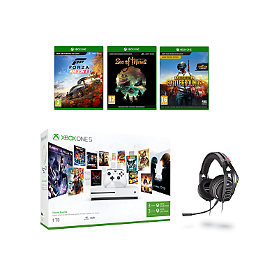Image of Microsoft Xbox One S Console, 1TB, with Wireless Controller and PlayerUnknown's Battlegrounds, Forza Horizon 4, Sea of Thieves and Turtle Beach Ear Force Stealth 700 Gaming Headset Bundle