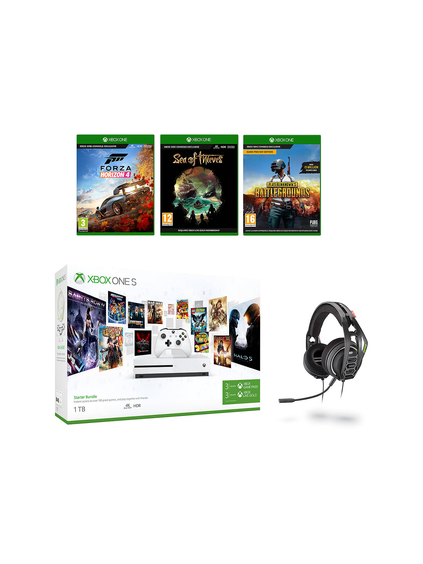 6384e4a561b Buy Microsoft Xbox One S Console, 1TB, with Wireless Controller and  PlayerUnknown's Battlegrounds,