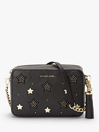 82664affbb2 MICHAEL Michael Kors Crossbodies Leather Star Camera Bag, Black Gold