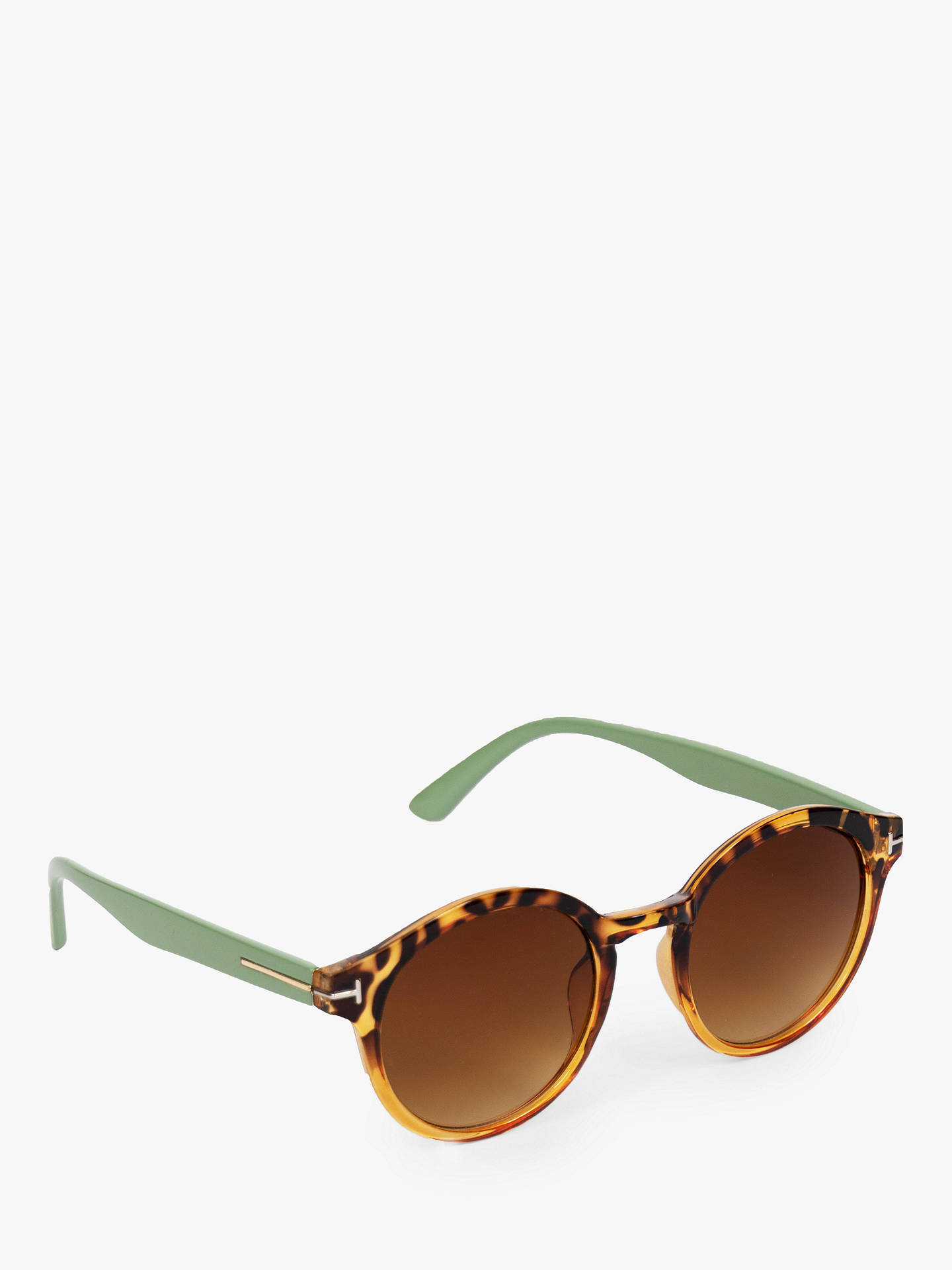 Powder Women's Erin Round Sunglasses, Tortoise Olive/Brown Gradient John lewis & Partners