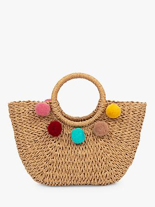 Powder Annabel Straw Pom Pom Tote Bag, Natural