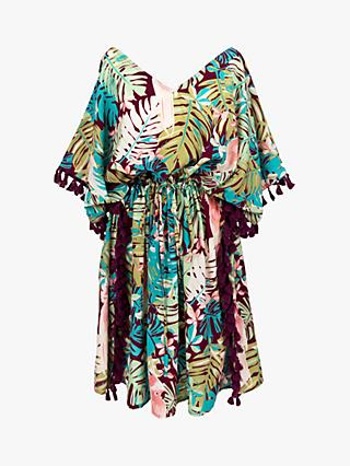 Powder Floral Tassel Kaftan, Cockatoo