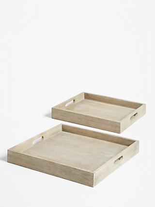 Croft Collection Burford Garden Trays, Set of 2, FSC-Certified (Eucalyptus Wood), Natural