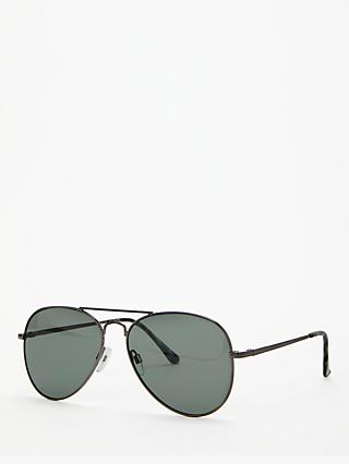 John Lewis & Partners Aviator Sunglasses, Gunmetal