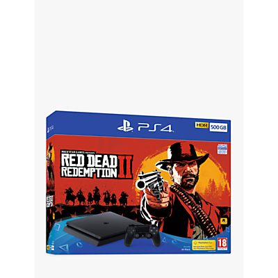 Sony PlayStation 4 Slim Console with 1x DUALSHOCK 4 Controller, 500GB, Jet Black and Red Dead Redemption 2 Bundle