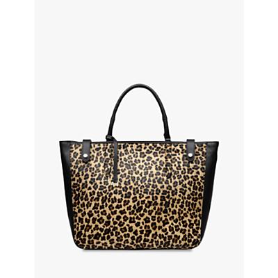 Radley Witley Large Open Top Leather Grab Bag, Leopard/Black