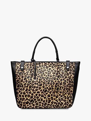 Radley Witley Large Open Top Leather Grab Bag Leopard Black