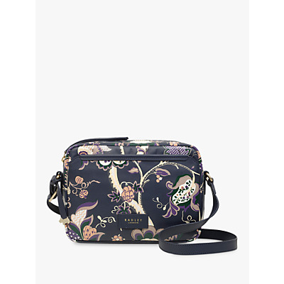 Radley Sanderson Small Leather Cross Body Bag, Navy Floral