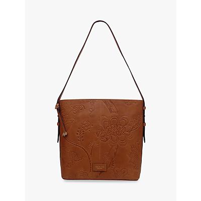 Radley Sanderson Floral Leather Large Shoulder Bag, Tan