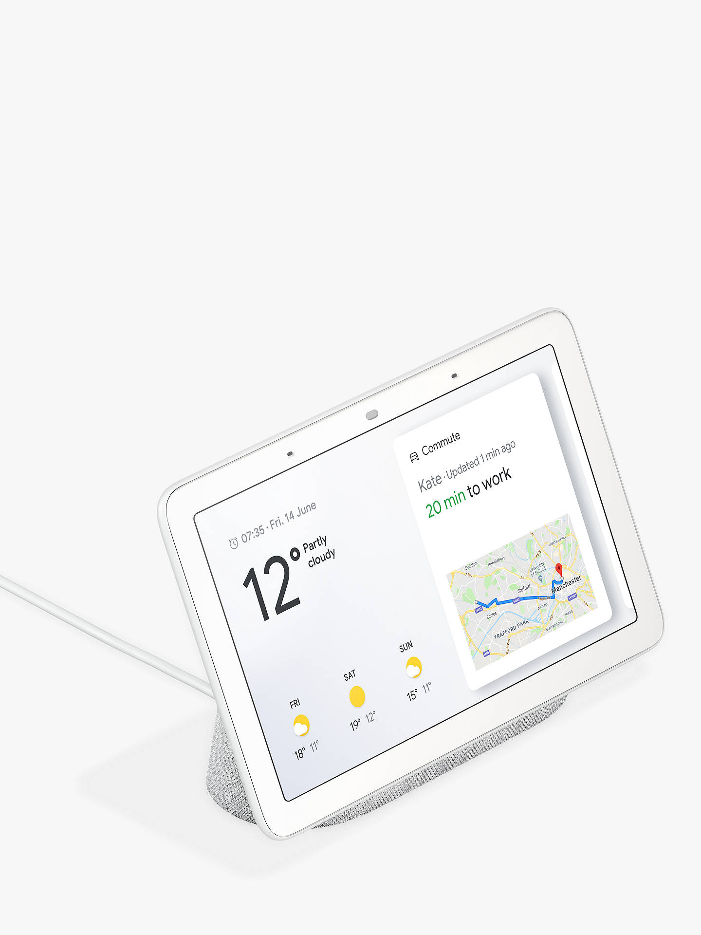 "Buy Google Home Hub Hands-Free Smart Speaker with 7"" Screen, Chalk Online at johnlewis.com"