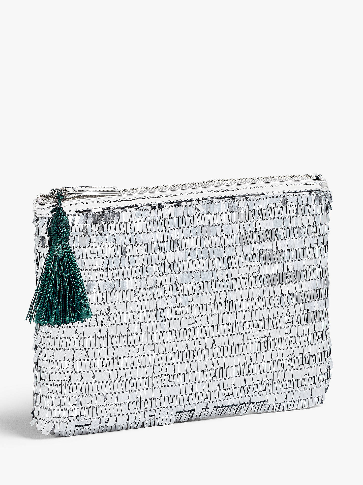 aa7fc673e9ac John Lewis & Partners Sequin Pouch Clutch Bag, Silver