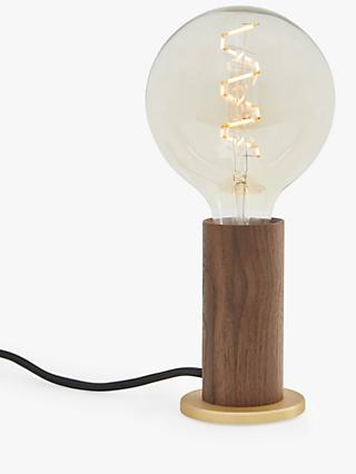Tala LED Touch Walnut Lamp Base with Tala Zion 6W ES LED Dimmable Globe Bulb, Smoke/Clear