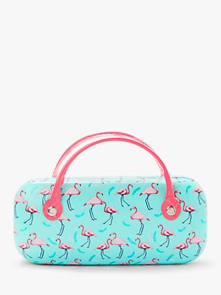 John Lewis & Partners Children's Flamingo Print Sunglasses Case, Blue/Pink