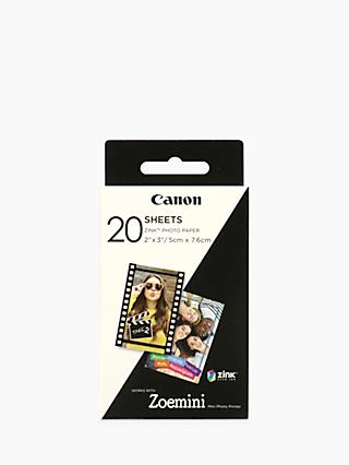 "Canon Zink Sticky-Backed Photo Paper, 20 Sheets, 2 x 3"" each, for Canon Zoemini Photo Printer"