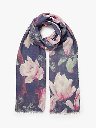 Modern Rarity Wool And Silk Magnolia Print Scarf Navy Multi