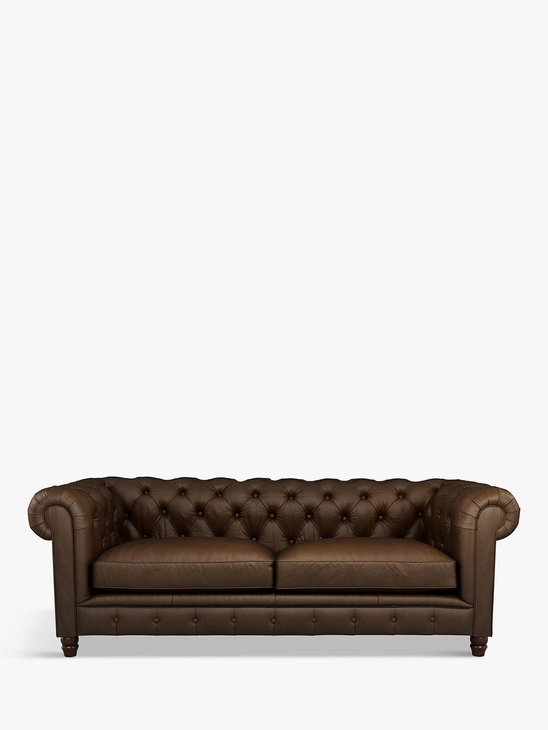 Buy Halo Earle Chesterfield Large 3 Seater Leather Sofa, Pure Dye Nutmeg Online at johnlewis.com
